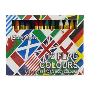 Stargazer 12 Face Paint Flag Colour Stick Crayons Brazil England India Australia