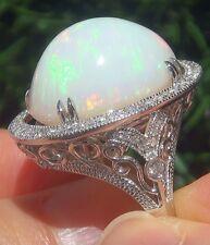 Chic 925 Silver Large White Fire Opal Gemstone Ring Bridal Wedding Women Jewelry