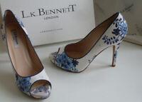 LK Bennett White Blue Floral Peep Toe Pump Heels Court Shoes Size EU 39 UK 6