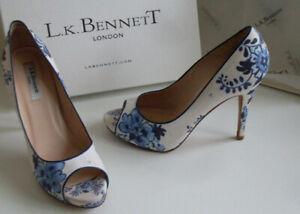 LK Bennett White Blue Floral Platform Pump Heels Court Shoes Size EU 39 UK 6