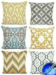 Cushion cover or Filled cushion Large Mustard Yellow Embroided Geometric NEW