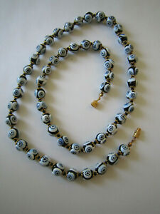 Vintage Murano Millefiori Necklace - Blue Glass Beads