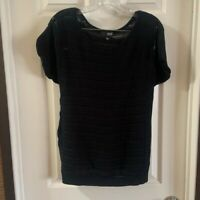 a.n.a Women's Black Knit Scoop Neck Short Sleeve Top size L
