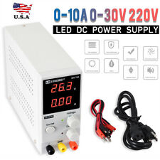 US A+ 0-10A 0-30V 220V LED DC Adjustable Precision Variable Digital Power Supply