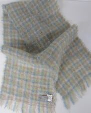 Vintage SCOTLAND WOOL & MOHAIR SCARF Soft Blue Citrus Green and Rose Plaid