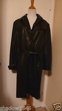 NWOT MARCIA COLLECTION Black Leather Removable Lining Trench Coat Size XL