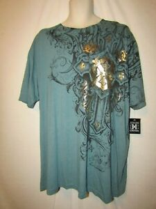 mens xtreme couture t-shirt 2XL nwt tattoo shield sea green