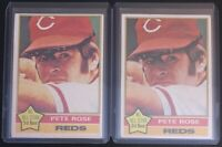 PETE ROSE 1976 TOPPS (2) VINTAGE BASEBALL CARD LOT #240 - REDS