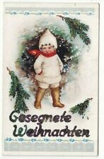 uralte AK Weihnachtskarte Kind im Winterwald Glitterdruck //37