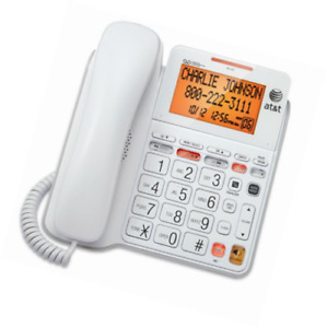 AT&T CL4940: Corded Standard Phone w/ Answering System and Backlit Display White