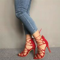 Fashion Women Sandals Peep Toe High Stiletto Heel Hollow Out Strappy Shoes Party