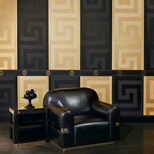 Versace Wallpaper or Border Gold Black Luxury Satin Modern Designer Greek Key