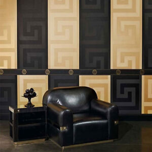 Versace Wallpaper or Border Gold Black Luxury Satin Modern Designer Greek Key