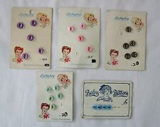 FIVE  vtg. PEARL/SHELL BUTTONS CARDS...LUCKY DAY &  BABY BUTTONS CUTE DOLL  FACE