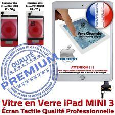 Vitre Ecran Tactile iPad MINI 3 Blanc Assemblée Bouton HOME IC Adhésif Prémontés