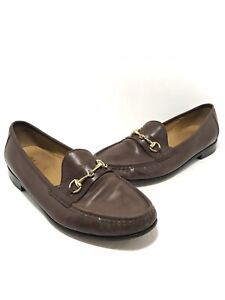 Cole Haan Womens Gold Buckle Leather Loafers Size 11 Brown