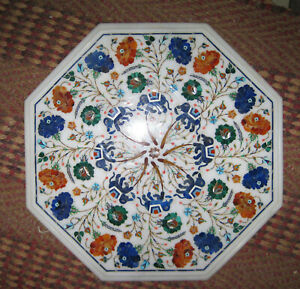 Coffee Table Top White Marble Antique Italian Inlay Floral living room furniture