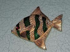 VINTAGE KREMENTZ GOLD GREEN ENAMEL ANGEL FISH BROOCH PIN GLAZE RED RHINESTONE