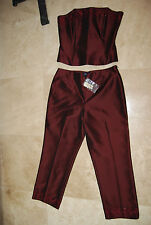 New Wine Burgundy ANN TAYLOR 2-Pc DressyTop & Pants Embroidery & Beads 8 and 10