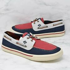 Sperry Top-Sider Bahama II Canvas Shoes Mens Sz 10 Varsity Red Blue STS21626 New