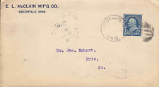 US Cover Sc # 219 with fancy cancel from Greenfield and Flag cancel back -US8214