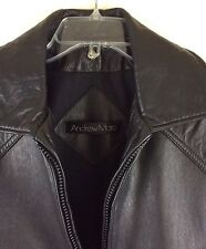 ANDREW MARC Heavy Black Leather Coat Jacket Men's Size Small BEAUTIFUL!