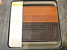 Fossil Cody Mens RFID Billfold Tin Wallet w/ Flip Id Window Leather Brown
