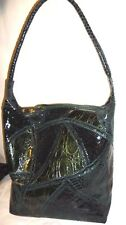 Large Hunter Green Reptile Patch Work Hobo Bag by Carlos Falchi