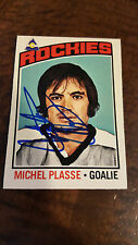 1976-77 OPC SIGNED ON CARD MICHEL PLASSE ROCKIES CANADIENS SCOUTS PENGUINS # 172