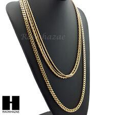 "HIP HOP 14K GOLD PT 4 CHAINS ROPE, BOX, 30"" CUBAN LINK NECKLACE CHAIN SET GN158G"