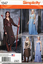 SIMPLICITY SEW PATTERN 1347/1010 14-22 MEDIEVAL COSTUME ARCHER LOTR GAME THRONES