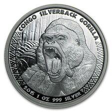 2015 Republic Of Congo 1 oz .999 Silver Silverback Gorilla Round Coin