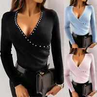 Womens Fashion Sexy V-neck Slim Blouse Long Sleeved Ladies Rhinestone Tops Shirt
