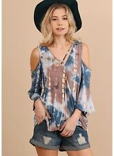 NEW UMGEE TIE DYE OPEN SHOULDER TOP & CROSSED NECKLINE BLUE/TAUPE SMALL