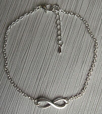 Silver gold bronze tone infinity charm anklet ankle bracelet silver plated chain