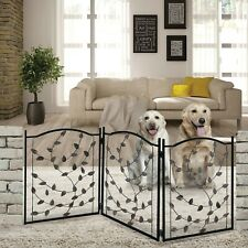 Etna 3-Panel Metal Pet Gate - Freestanding Leaf Design Dog Fence - 53