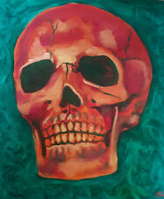 ORIGINAL OIL PAINTING CANVAS BOARD  ART SKULL HEAD BONES GREEN RED SKELETOR