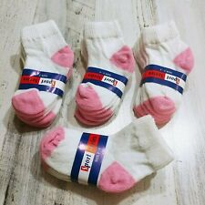 Toddler Girl Ankle Socks Size 2T 3T 4T White and Pink Lot 12 Pair - Made In Usa