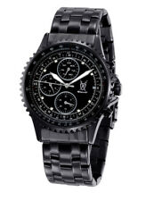 Mens Watch Black Metal Bracelet Big Dial Day Date Multifunction Relojes Hombres