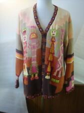 Storybook Knits Sweater Cardigan Kachina Dolls L Pink Brown