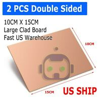 2PCS 10cm x 15cm Two Sided DIY Copper Clad Plate Laminate PCB Circuit Board LW