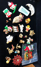 24 Vintage Hallmark, Avon And Other Christmas Pins