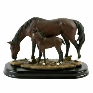 Horse and Foal on Wood Base 18cm Ornament Figurine Home Decor Gift Collectable