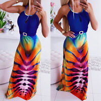 Womens Sleeveless Tie Dye Long Maxi Dress Bodycon Strappy Summer Beach Sundress
