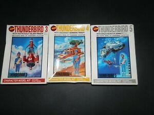 THUNDERBIRDS : 3 Bandai MODELS KITS  TB3 , TB4 and TB5 with pilots