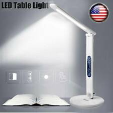 LED Desk Lamp Touch Dimmable Table Reading Light Foldable USB + Clock Calendar