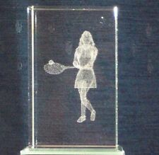 Donna Tennis PLAYER@3D Cristallo Laser Block@PAPER-WEIGHT @Etched image@Wimbledon?
