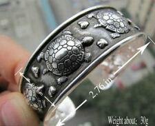 Fun New Wide Tibetan Silver Turtle Embossed Cuff Bangle Bracelet