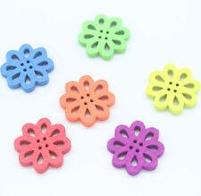 100 Mixed Flower Shape Wood Sewing Buttons 20*20mm D001