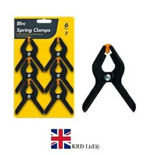 "6 x PLASTIC SPRING GRIP CLAMPS PACK 3"" Quick Grip Craft Wood Work Clamp GEM UK"